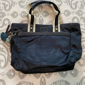 Coach Bucket Bag - Black with Blue Accents